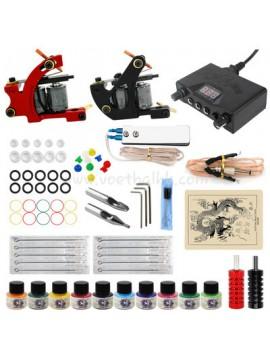 Tattoomaschine Set Ein Schwarz Und Ein Rot Machine 10 Farbes