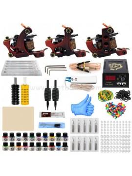 Tattoomaschine Set Drei Rot Maschinen 20 Farbes