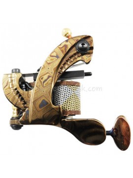 Tattoomaschine N109 10 Layer Coil Damascus Stahl Shader Gold