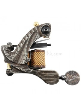 Tattoomaschine N109 10 Layer Coil Damascus Stahl Shader Grau